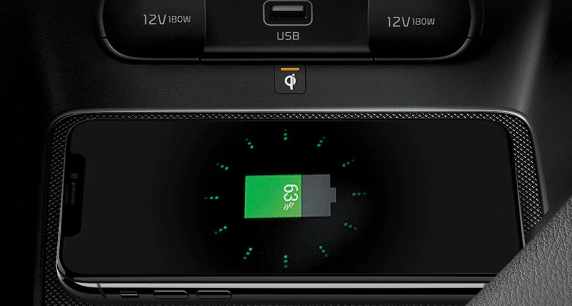 kia sportage auto interior cargador inalambrico para smartphone