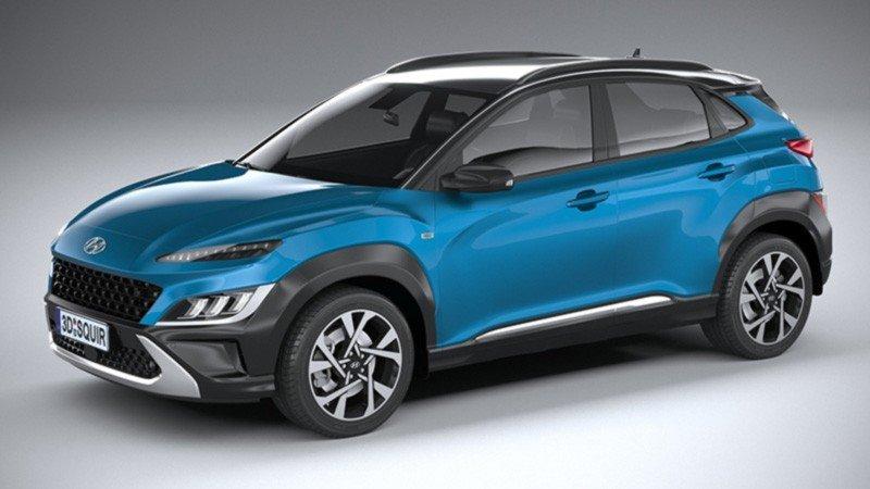 Hyundai, Kona, 2021, Azul, de lado
